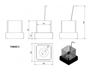 Talni eko kamin Tango 3
